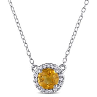Miadora Citrine and 1/10ct TDW Diamond Halo Necklace in Sterling Silver (G-H,I2-I3)
