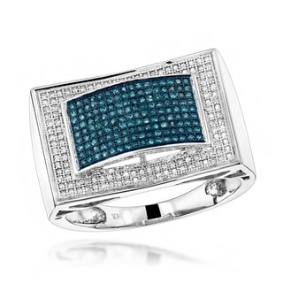 Luxurman 10k Gold Men's 3/5ct TDW White and Blue Diamond Ring (H-I, SI1-SI2)