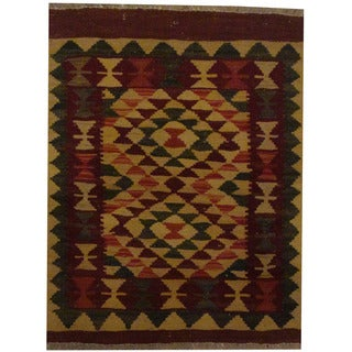 Herat Oriental Afghan Hand-woven Tribal Wool Kilim (2' x 2'6)