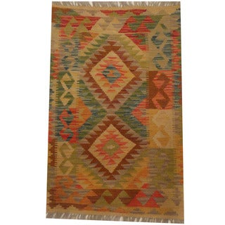 Herat Oriental Afghan Hand-woven Tribal Kilim (2' x 3'1)