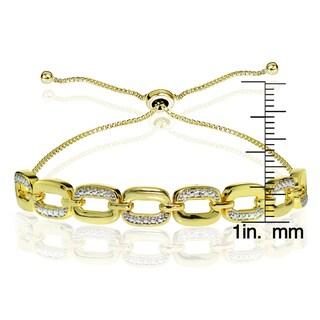 DB Designs Sterling Silver Diamond Accent Rectangle Link Adjustable Slider Bracelet
