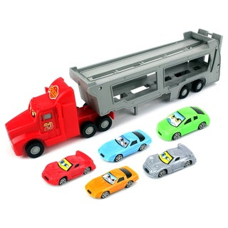 Velocity Toys Children's Air Race Team Transporter Toy Truck Trailer Vehicle Playset