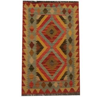 Herat Oriental Afghan Hand-woven Tribal Wool Kilim (2' x 3'2)