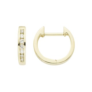Boston Bay Diamonds 14k Yellow Gold 1/7ct TDW Channel-set Diamond Hoop Earrings (I, I1)