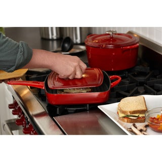 Simply Calphalon Enamel Cast Iron Red 11-inch Grill Pan and Press