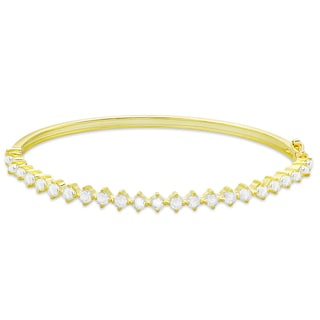 Finesque Gold Over Silver or Sterling Silver 2.4ct TDW Diamond Tennis Style Bangle
