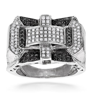 Luxurman Sterling Silver Men's 1ct TDW White and Black Diamond Ring