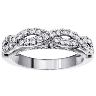14k White Gold 1/2ct TDW Diamond Braided Anniversary Wedding Band