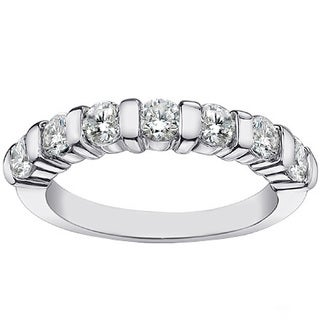 14k/18k White Gold 1 1/7ct TDW Channel Bar 7-stone Diamond Wedding Ring (G-H, SI1-SI2)