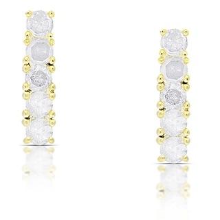 Finesque Gold Over Silver or Sterling Silver 1ct TDW Diamond Bar Earrings