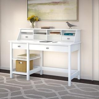 Broadview Pure White Computer Desk with Open Storage and Desktop Organizer