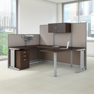 Office in an Hour 89W U Shaped Cubicle Workstation, Storage in Cherry