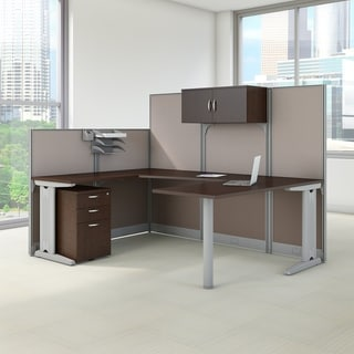 Bush Business Furniture Office in an Hour Mocha Cherry 89-inch Wide x 65-inch Diameter U-Workstation Desk