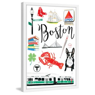 Marmont Hill - 'Boston Icons' by Molly Rosner Framed Painting Print