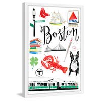 Marmont Hill - 'Boston Icons' by Molly Rosner Framed Painting Print - Multi