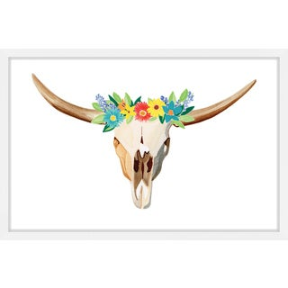 Marmont Hill - 'Floral Longhorn' by Molly Rosner Framed Painting Print