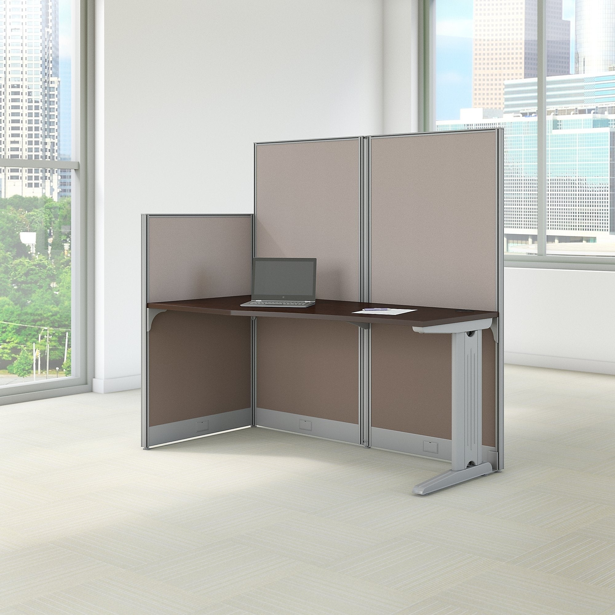 Office In An Hour 65w X 3 Cubicle Workstation Mocha Cherry