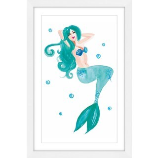 Marmont Hill - 'Mermaid Blue' by Molly Rosner Framed Painting Print - Multi