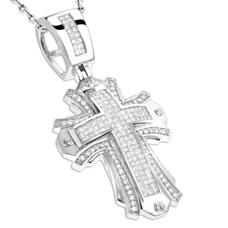 Luxurman 14k Gold 2ct TDW Diamond Cross Pendant (H-I, SI1-SI2)