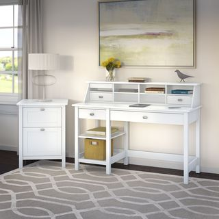 Broadview Computer Desk with Open Storage, Organizer and File Cabinet in Pure White