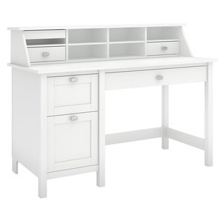 Broadview Pure White Computer Desk with 2-drawer Pedestal and Organizer