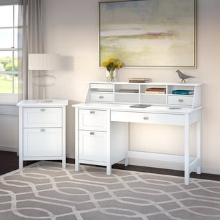 Broadview Computer Desk with Pedestal, Organizer and File Cabinet in Pure White