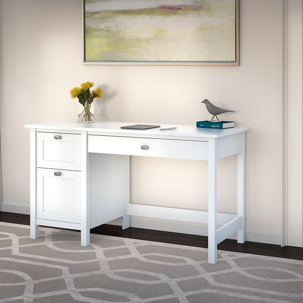 Copper Grove Rustavi Computer Desk with Drawers in Pure White. Opens flyout.