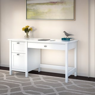 Broadview Pure White Computer Desk with 2 Drawer Pedestal