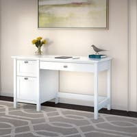 Porch & Den Tatnall Computer Desk with Drawers in Pure White