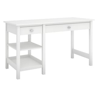 Broadview Collection Pure White Single Pedestal Desk