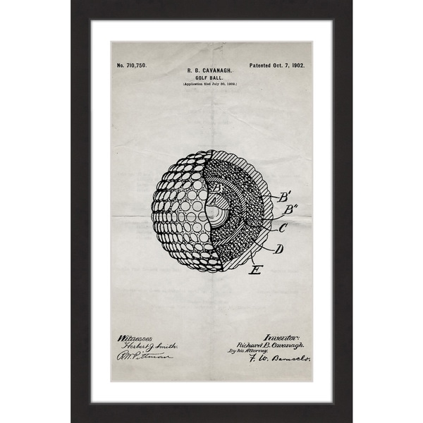 Shop Marmont Hill - \'Golf Ball 1902 Old Paper\' by Steve King Framed ...