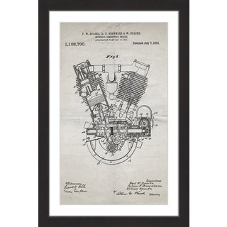 Marmont Hill - 'Engine 1914 Old Paper' by Steve King Framed Painting Print