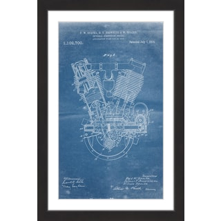 Marmont Hill - 'Engine 1914 Blueprint' by Steve King Framed Painting Print