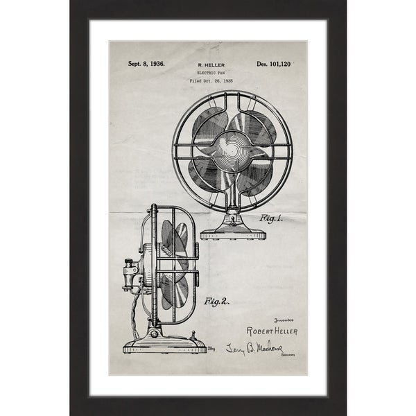 Marmont Hill - 'Electric Fan 1935 Old Paper' by Steve King Framed Painting Print