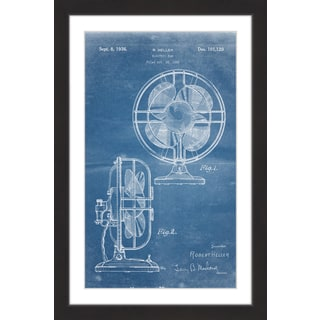 Marmont Hill - 'Electric Fan 1935 Blueprint' by Steve King Framed Painting Print