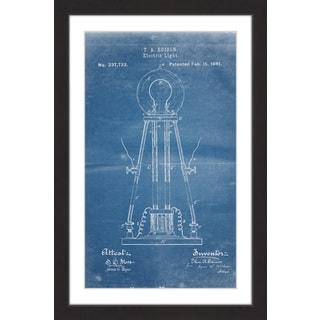 Marmont Hill - 'Edison Light 1881 Blueprint' by Steve King Framed Painting Print