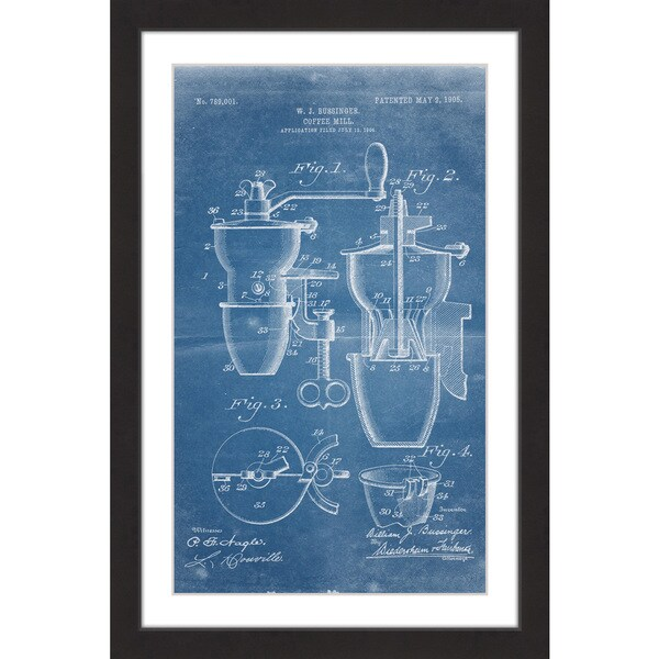 Marmont Hill - 'Coffee Mill 1905 Blueprint' by Steve King Framed Painting Print - Multi