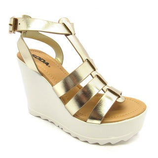 Luv's Enriko Women 'Lori' Synthetic Wedge Sandals Shoes