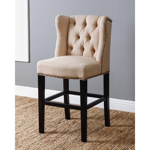 Abbyson Sierra Cream Linen Wingback Counter Stool Free
