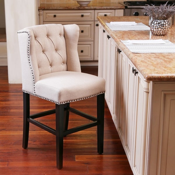 Shop Abbyson Sierra Cream Linen Wingback Counter Stool