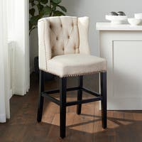 Abbyson Sierra Cream Linen Wingback Counter Stool