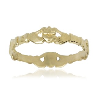 Women's 14k Yellow Gold Claddagh Celtic Thumb Ring