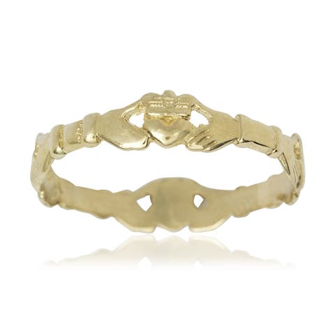 Women's 14k Yellow Gold Claddagh Celtic Thumb Ring