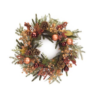 Red/Orange Plastic Mixed Foilage Wreath with Ornaments and Berries