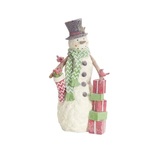 Polyresin White Snowman with Cardinals Figurine