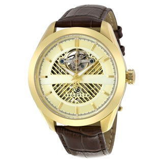 Brooklyn Watch Co. Pierrepont Skeleton Goldtone Stainless Steel Automatic Watch with Brown Leather Strap
