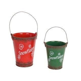 Red/Green Ceramic Vintage-style Snowflake Buckets (Set of 2)