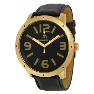 Brooklyn Watch Co. De Kalb Men's Goldtone Steel Black Dial Watch with Leather Strap