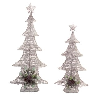 White/Brown LED Lighted Tree (Pack of 2)