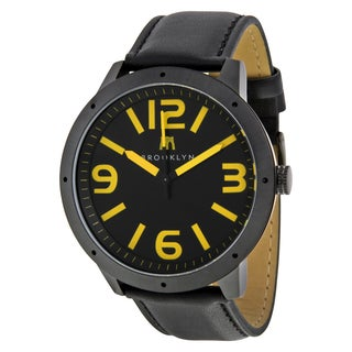 Brooklyn Watch Co. De Kalb Men's Black/ Yellow Stainless Steel Watch with Leather Strap